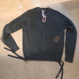 NWT Gray Sweater with Tie Details